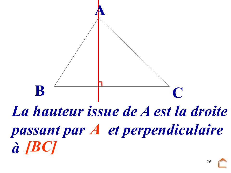 B C A La hauteur issue de A est la droite passant par .... et perpendiculaire à ... A [BC]